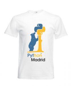 Camiseta de Python Madrid, sacada de http://python-madrid.es/meetings/camisetas-python-madrid/